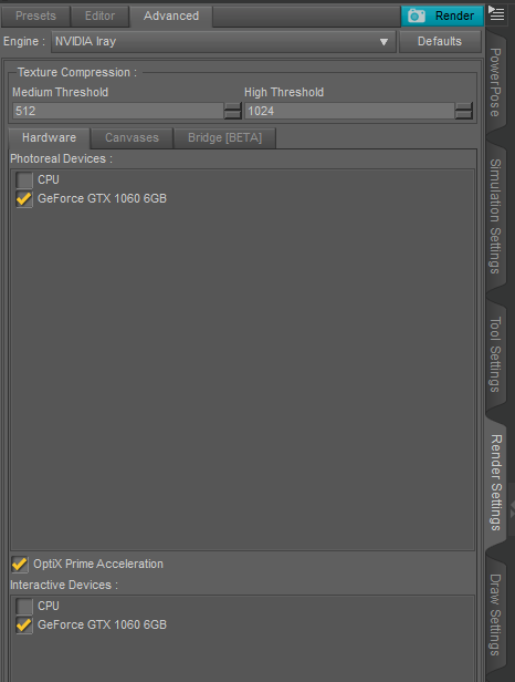 iRay Advanced Render Settings