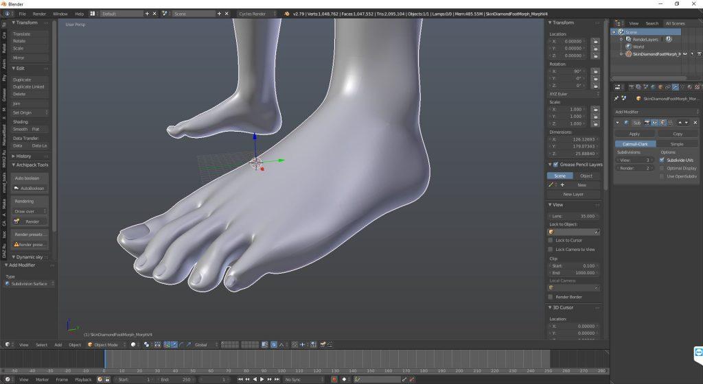 Completed Genesis 8 Foot Morph in Blender 3D Viewport