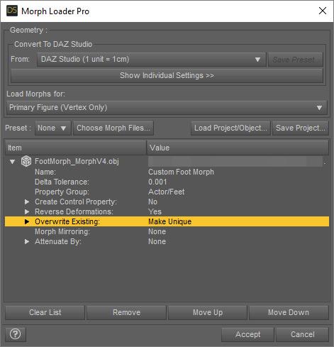 Foot Morph - Morph Loader Pro Settings